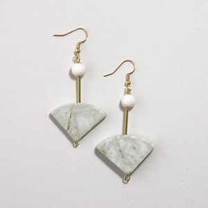 Natural Green Marble Stone Drop Earrings